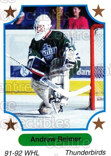 1991-92 7th Inning Sketch WHL #142 Andrew Reimer<br/>6 In Stock - $1.00 each - <a href=https://centericecollectibles.foxycart.com/cart?name=1991-92%207th%20Inning%20Sketch%20WHL%20%23142%20Andrew%20Reimer...&price=$1.00&code=15376 class=foxycart> Buy it now! </a>