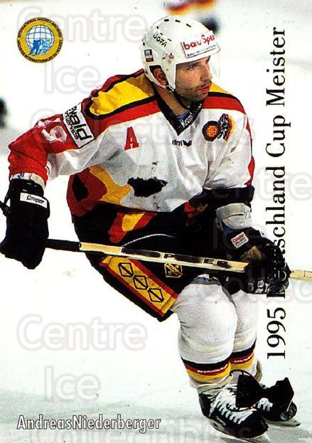 1995-96 German DEL #438 Andreas Niederberger, German National Team<br/>9 In Stock - $2.00 each - <a href=https://centericecollectibles.foxycart.com/cart?name=1995-96%20German%20DEL%20%23438%20Andreas%20Niederb...&quantity_max=9&price=$2.00&code=154473 class=foxycart> Buy it now! </a>