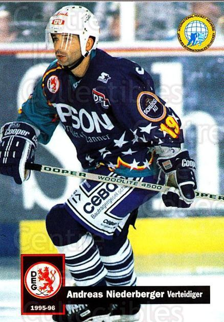 1995-96 German DEL #82 Andreas Niederberger<br/>11 In Stock - $2.00 each - <a href=https://centericecollectibles.foxycart.com/cart?name=1995-96%20German%20DEL%20%2382%20Andreas%20Niederb...&quantity_max=11&price=$2.00&code=154524 class=foxycart> Buy it now! </a>