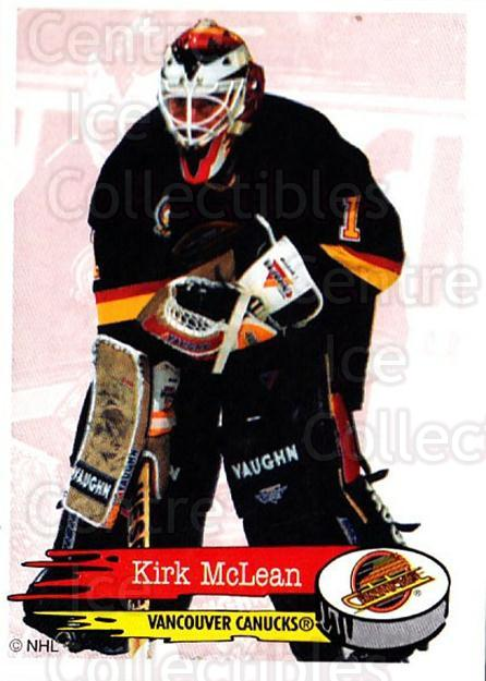 1995-96 Panini Stickers #298 Kirk McLean<br/>2 In Stock - $1.00 each - <a href=https://centericecollectibles.foxycart.com/cart?name=1995-96%20Panini%20Stickers%20%23298%20Kirk%20McLean...&quantity_max=2&price=$1.00&code=154643 class=foxycart> Buy it now! </a>