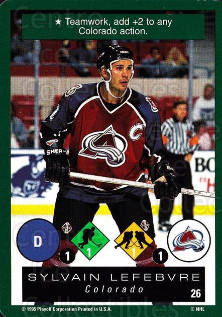 1995-96 Playoff One on One #26 Sylvain Lefebvre<br/>7 In Stock - $1.00 each - <a href=https://centericecollectibles.foxycart.com/cart?name=1995-96%20Playoff%20One%20on%20One%20%2326%20Sylvain%20Lefebvr...&quantity_max=7&price=$1.00&code=155306 class=foxycart> Buy it now! </a>