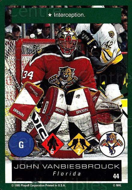 1995-96 Playoff One on One #44 John Vanbiesbrouck<br/>5 In Stock - $1.00 each - <a href=https://centericecollectibles.foxycart.com/cart?name=1995-96%20Playoff%20One%20on%20One%20%2344%20John%20Vanbiesbro...&quantity_max=5&price=$1.00&code=155372 class=foxycart> Buy it now! </a>