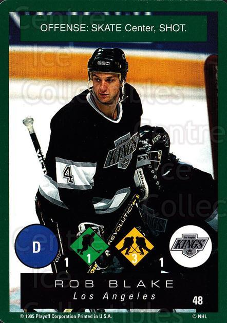 1995-96 Playoff One on One #48 Rob Blake<br/>7 In Stock - $1.00 each - <a href=https://centericecollectibles.foxycart.com/cart?name=1995-96%20Playoff%20One%20on%20One%20%2348%20Rob%20Blake...&quantity_max=7&price=$1.00&code=155376 class=foxycart> Buy it now! </a>