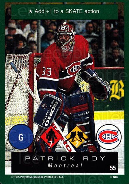 1995-96 Playoff One on One #55 Patrick Roy<br/>4 In Stock - $3.00 each - <a href=https://centericecollectibles.foxycart.com/cart?name=1995-96%20Playoff%20One%20on%20One%20%2355%20Patrick%20Roy...&quantity_max=4&price=$3.00&code=155384 class=foxycart> Buy it now! </a>