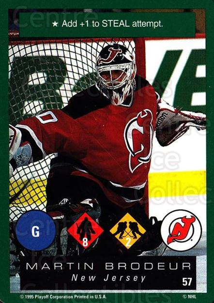 1995-96 Playoff One on One #57 Martin Brodeur<br/>6 In Stock - $2.00 each - <a href=https://centericecollectibles.foxycart.com/cart?name=1995-96%20Playoff%20One%20on%20One%20%2357%20Martin%20Brodeur...&price=$2.00&code=155386 class=foxycart> Buy it now! </a>