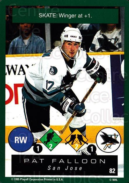 1995-96 Playoff One on One #82 Pat Falloon<br/>7 In Stock - $1.00 each - <a href=https://centericecollectibles.foxycart.com/cart?name=1995-96%20Playoff%20One%20on%20One%20%2382%20Pat%20Falloon...&quantity_max=7&price=$1.00&code=155413 class=foxycart> Buy it now! </a>