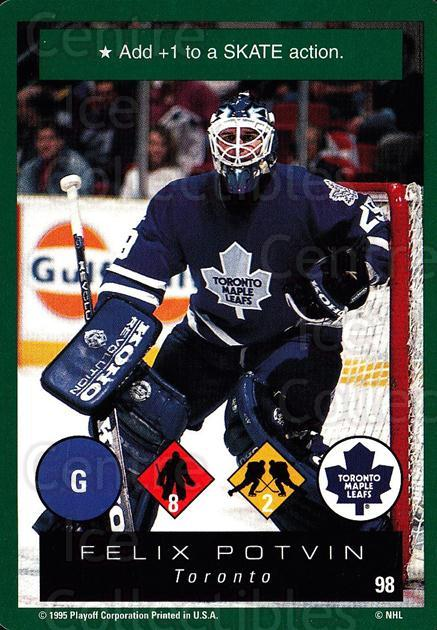 1995-96 Playoff One on One #98 Felix Potvin<br/>6 In Stock - $1.00 each - <a href=https://centericecollectibles.foxycart.com/cart?name=1995-96%20Playoff%20One%20on%20One%20%2398%20Felix%20Potvin...&quantity_max=6&price=$1.00&code=155430 class=foxycart> Buy it now! </a>