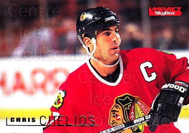 1995-96 SkyBox Impact #28 Chris Chelios<br/>5 In Stock - $1.00 each - <a href=https://centericecollectibles.foxycart.com/cart?name=1995-96%20SkyBox%20Impact%20%2328%20Chris%20Chelios...&quantity_max=5&price=$1.00&code=155739 class=foxycart> Buy it now! </a>