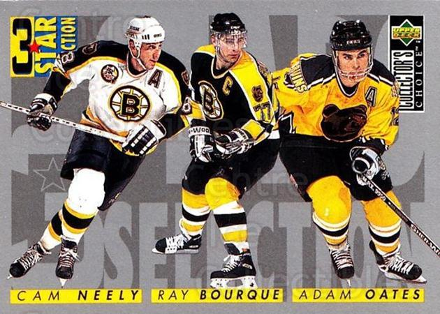 1996-97 Collectors Choice #310 Adam Oates, Ray Bourque, Cam Neely<br/>3 In Stock - $1.00 each - <a href=https://centericecollectibles.foxycart.com/cart?name=1996-97%20Collectors%20Choice%20%23310%20Adam%20Oates,%20Ray...&quantity_max=3&price=$1.00&code=156590 class=foxycart> Buy it now! </a>