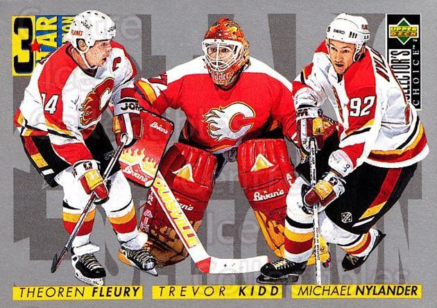 1996-97 Collectors Choice #312 Theo Fleury, Michael Nylander, Trevor Kidd<br/>4 In Stock - $1.00 each - <a href=https://centericecollectibles.foxycart.com/cart?name=1996-97%20Collectors%20Choice%20%23312%20Theo%20Fleury,%20Mi...&quantity_max=4&price=$1.00&code=156592 class=foxycart> Buy it now! </a>