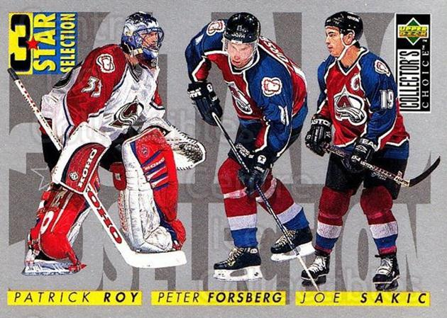 1996-97 Collectors Choice #314 Joe Sakic, Patrick Roy, Peter Forsberg<br/>1 In Stock - $1.00 each - <a href=https://centericecollectibles.foxycart.com/cart?name=1996-97%20Collectors%20Choice%20%23314%20Joe%20Sakic,%20Patr...&price=$1.00&code=156594 class=foxycart> Buy it now! </a>