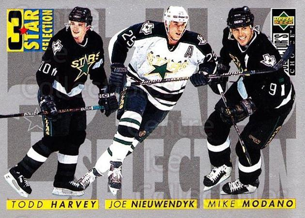 1996-97 Collectors Choice #315 Mike Modano, Joe Nieuwendyk, Todd Harvey<br/>2 In Stock - $1.00 each - <a href=https://centericecollectibles.foxycart.com/cart?name=1996-97%20Collectors%20Choice%20%23315%20Mike%20Modano,%20Jo...&quantity_max=2&price=$1.00&code=156595 class=foxycart> Buy it now! </a>