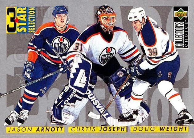 1996-97 Collectors Choice #317 Doug Weight, Jason Arnott, Curtis Joseph<br/>2 In Stock - $1.00 each - <a href=https://centericecollectibles.foxycart.com/cart?name=1996-97%20Collectors%20Choice%20%23317%20Doug%20Weight,%20Ja...&quantity_max=2&price=$1.00&code=156597 class=foxycart> Buy it now! </a>