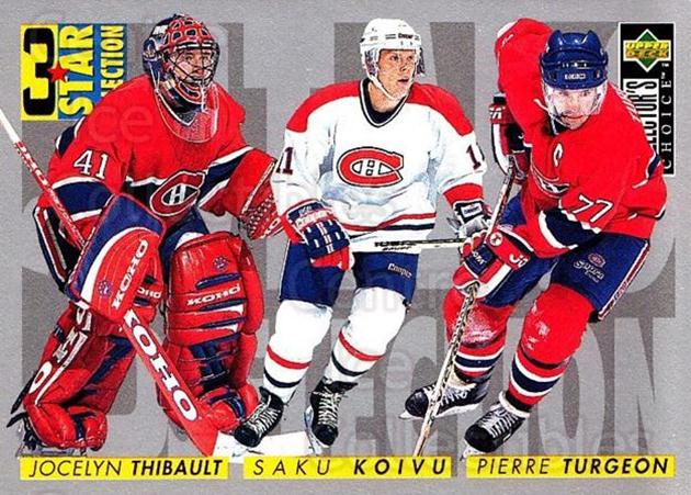 1996-97 Collectors Choice #321 Jocelyn Thibault, Pierre Turgeon, Saku Koivu<br/>1 In Stock - $1.00 each - <a href=https://centericecollectibles.foxycart.com/cart?name=1996-97%20Collectors%20Choice%20%23321%20Jocelyn%20Thibaul...&quantity_max=1&price=$1.00&code=156602 class=foxycart> Buy it now! </a>