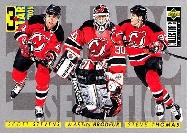 1996-97 Collectors Choice #322 Martin Brodeur, Steve Thomas, Scott Stevens<br/>3 In Stock - $2.00 each - <a href=https://centericecollectibles.foxycart.com/cart?name=1996-97%20Collectors%20Choice%20%23322%20Martin%20Brodeur,...&price=$2.00&code=156603 class=foxycart> Buy it now! </a>