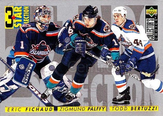 1996-97 Collectors Choice #323 Eric Fichaud, Zigmund Palffy, Todd Bertuzzi<br/>4 In Stock - $1.00 each - <a href=https://centericecollectibles.foxycart.com/cart?name=1996-97%20Collectors%20Choice%20%23323%20Eric%20Fichaud,%20Z...&price=$1.00&code=156604 class=foxycart> Buy it now! </a>
