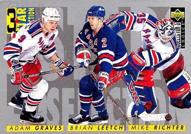 1996-97 Collectors Choice #324 Adam Graves, Mike Richter, Brian Leetch<br/>2 In Stock - $1.00 each - <a href=https://centericecollectibles.foxycart.com/cart?name=1996-97%20Collectors%20Choice%20%23324%20Adam%20Graves,%20Mi...&quantity_max=2&price=$1.00&code=156605 class=foxycart> Buy it now! </a>