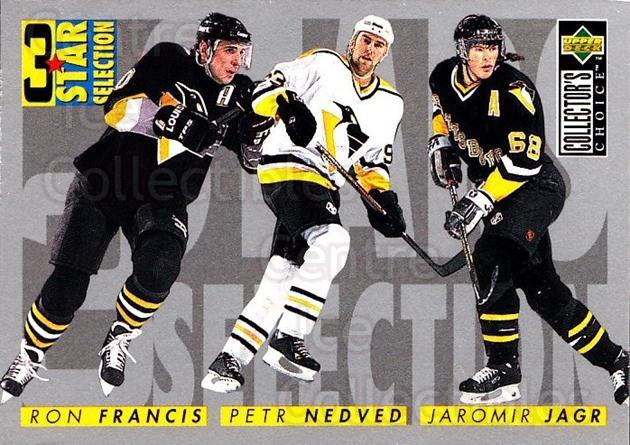 1996-97 Collectors Choice #328 Jaromir Jagr, Petr Nedved, Ron Francis<br/>2 In Stock - $2.00 each - <a href=https://centericecollectibles.foxycart.com/cart?name=1996-97%20Collectors%20Choice%20%23328%20Jaromir%20Jagr,%20P...&quantity_max=2&price=$2.00&code=156609 class=foxycart> Buy it now! </a>