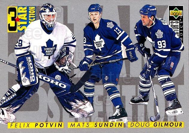 1996-97 Collectors Choice #332 Felix Potvin, Doug Gilmour, Mats Sundin<br/>1 In Stock - $1.00 each - <a href=https://centericecollectibles.foxycart.com/cart?name=1996-97%20Collectors%20Choice%20%23332%20Felix%20Potvin,%20D...&quantity_max=1&price=$1.00&code=156614 class=foxycart> Buy it now! </a>