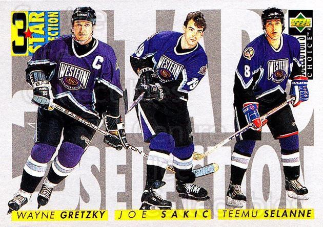 1996-97 Collectors Choice #336 Teemu Selanne, Joe Sakic, Wayne Gretzky<br/>1 In Stock - $1.00 each - <a href=https://centericecollectibles.foxycart.com/cart?name=1996-97%20Collectors%20Choice%20%23336%20Teemu%20Selanne,%20...&price=$1.00&code=156618 class=foxycart> Buy it now! </a>