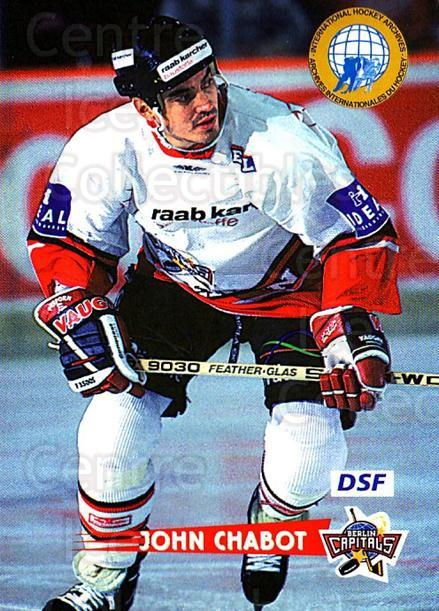 1996-97 German DEL #263 John Chabot<br/>2 In Stock - $2.00 each - <a href=https://centericecollectibles.foxycart.com/cart?name=1996-97%20German%20DEL%20%23263%20John%20Chabot...&quantity_max=2&price=$2.00&code=156896 class=foxycart> Buy it now! </a>
