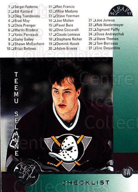 1996-97 Leaf #238 Teemu Selanne, Checklist<br/>4 In Stock - $2.00 each - <a href=https://centericecollectibles.foxycart.com/cart?name=1996-97%20Leaf%20%23238%20Teemu%20Selanne,%20...&quantity_max=4&price=$2.00&code=157060 class=foxycart> Buy it now! </a>