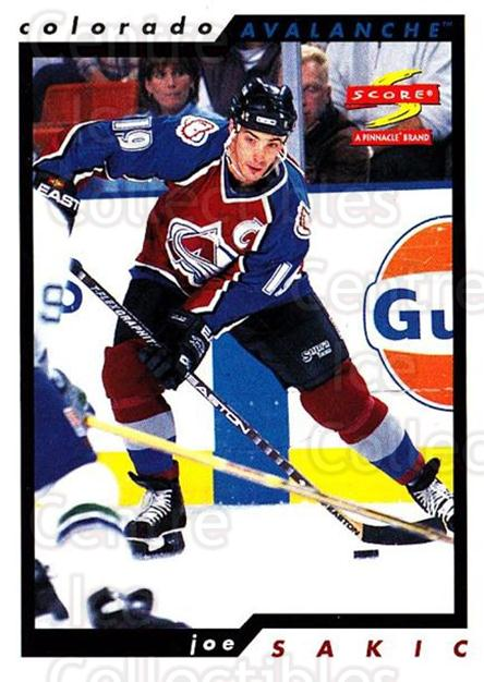 1996-97 Score #9 Joe Sakic<br/>2 In Stock - $2.00 each - <a href=https://centericecollectibles.foxycart.com/cart?name=1996-97%20Score%20%239%20Joe%20Sakic...&quantity_max=2&price=$2.00&code=157528 class=foxycart> Buy it now! </a>