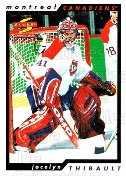 1996-97 Score #96 Jocelyn Thibault<br/>5 In Stock - $1.00 each - <a href=https://centericecollectibles.foxycart.com/cart?name=1996-97%20Score%20%2396%20Jocelyn%20Thibaul...&quantity_max=5&price=$1.00&code=157534 class=foxycart> Buy it now! </a>