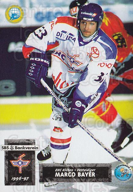 1996-97 Swiss HNL #6 Marco Bayer<br/>3 In Stock - $2.00 each - <a href=https://centericecollectibles.foxycart.com/cart?name=1996-97%20Swiss%20HNL%20%236%20Marco%20Bayer...&quantity_max=3&price=$2.00&code=157950 class=foxycart> Buy it now! </a>