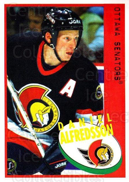 1997-98 Panini Stickers #41 Daniel Alfredsson<br/>1 In Stock - $1.00 each - <a href=https://centericecollectibles.foxycart.com/cart?name=1997-98%20Panini%20Stickers%20%2341%20Daniel%20Alfredss...&quantity_max=1&price=$1.00&code=158885 class=foxycart> Buy it now! </a>