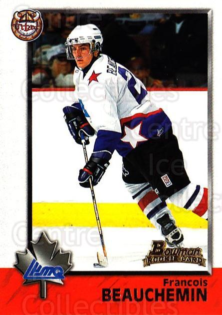 1998 Bowman CHL #92 Francois Beauchemin<br/>7 In Stock - $1.00 each - <a href=https://centericecollectibles.foxycart.com/cart?name=1998%20Bowman%20CHL%20%2392%20Francois%20Beauch...&quantity_max=7&price=$1.00&code=159112 class=foxycart> Buy it now! </a>