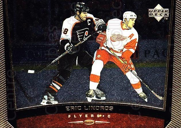 1998-99 Upper Deck Gold Reserve #333 Eric Lindros<br/>2 In Stock - $1.00 each - <a href=https://centericecollectibles.foxycart.com/cart?name=1998-99%20Upper%20Deck%20Gold%20Reserve%20%23333%20Eric%20Lindros...&quantity_max=2&price=$1.00&code=159745 class=foxycart> Buy it now! </a>