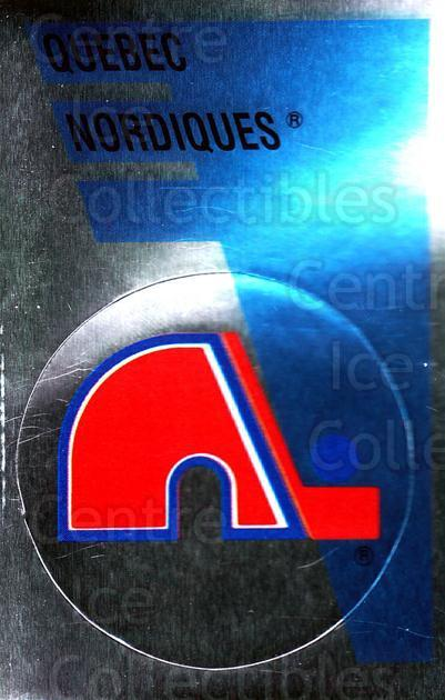 1991-92 Panini Stickers #163 Quebec Nordiques<br/>7 In Stock - $1.00 each - <a href=https://centericecollectibles.foxycart.com/cart?name=1991-92%20Panini%20Stickers%20%23163%20Quebec%20Nordique...&quantity_max=7&price=$1.00&code=15982 class=foxycart> Buy it now! </a>