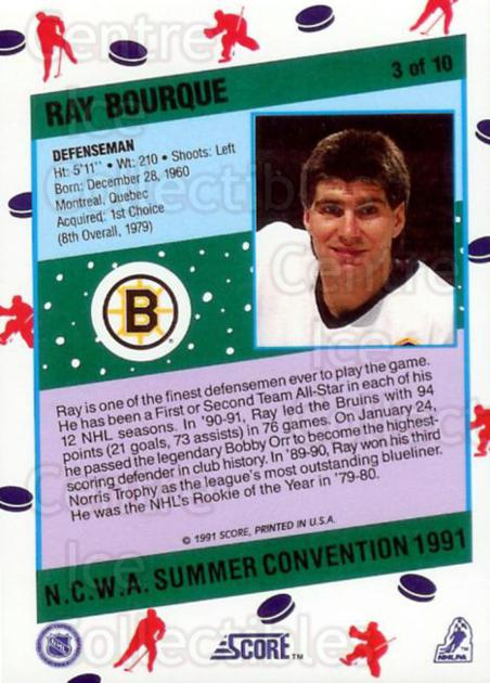 1991 Score NCWA Convention #3 Ray Bourque<br/>10 In Stock - $2.00 each - <a href=https://centericecollectibles.foxycart.com/cart?name=1991%20Score%20NCWA%20Convention%20%233%20Ray%20Bourque...&quantity_max=10&price=$2.00&code=16019 class=foxycart> Buy it now! </a>