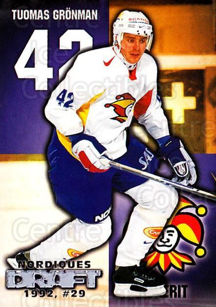 1999-00 Finnish Cardset #262 Tuomas Gronman<br/>9 In Stock - $2.00 each - <a href=https://centericecollectibles.foxycart.com/cart?name=1999-00%20Finnish%20Cardset%20%23262%20Tuomas%20Gronman...&quantity_max=9&price=$2.00&code=160234 class=foxycart> Buy it now! </a>