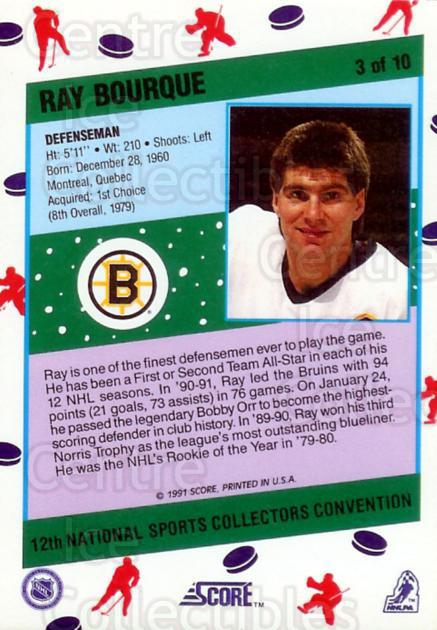 1991 Score National #3 Ray Bourque<br/>24 In Stock - $3.00 each - <a href=https://centericecollectibles.foxycart.com/cart?name=1991%20Score%20National%20%233%20Ray%20Bourque...&quantity_max=24&price=$3.00&code=16024 class=foxycart> Buy it now! </a>