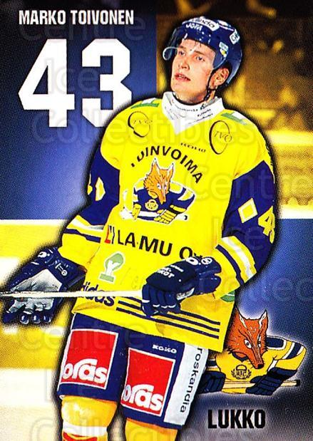 1999-00 Finnish Cardset #285 Marko Toivonen<br/>12 In Stock - $2.00 each - <a href=https://centericecollectibles.foxycart.com/cart?name=1999-00%20Finnish%20Cardset%20%23285%20Marko%20Toivonen...&quantity_max=12&price=$2.00&code=160258 class=foxycart> Buy it now! </a>
