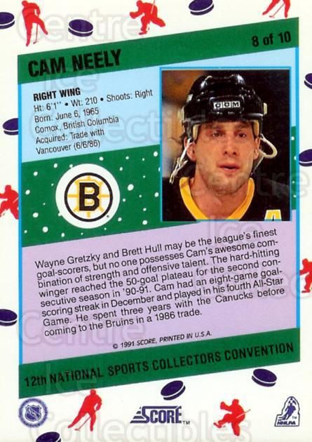 1991 Score National #8 Cam Neely<br/>27 In Stock - $3.00 each - <a href=https://centericecollectibles.foxycart.com/cart?name=1991%20Score%20National%20%238%20Cam%20Neely...&quantity_max=27&price=$3.00&code=16027 class=foxycart> Buy it now! </a>