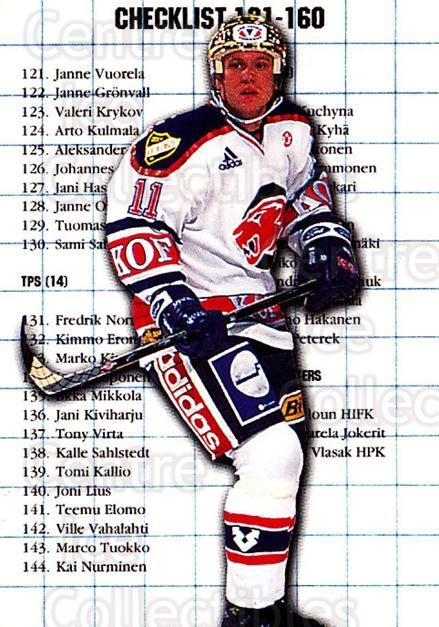 1999-00 Finnish Cardset #4 Jan Caloun, Checklist<br/>5 In Stock - $2.00 each - <a href=https://centericecollectibles.foxycart.com/cart?name=1999-00%20Finnish%20Cardset%20%234%20Jan%20Caloun,%20Che...&quantity_max=5&price=$2.00&code=160332 class=foxycart> Buy it now! </a>
