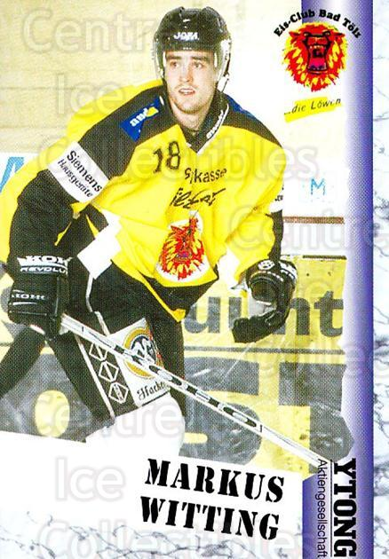 1999-00 German Bundesliga 2 #27 Markus Witting<br/>12 In Stock - $2.00 each - <a href=https://centericecollectibles.foxycart.com/cart?name=1999-00%20German%20Bundesliga%202%20%2327%20Markus%20Witting...&quantity_max=12&price=$2.00&code=160421 class=foxycart> Buy it now! </a>