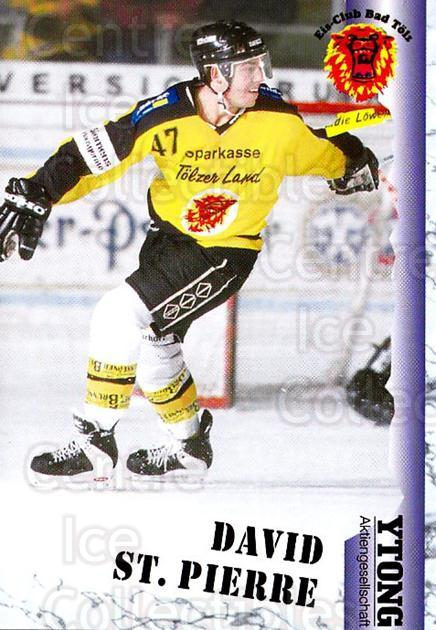 1999-00 German Bundesliga 2 #33 David St.Pierre<br/>13 In Stock - $2.00 each - <a href=https://centericecollectibles.foxycart.com/cart?name=1999-00%20German%20Bundesliga%202%20%2333%20David%20St.Pierre...&quantity_max=13&price=$2.00&code=160485 class=foxycart> Buy it now! </a>
