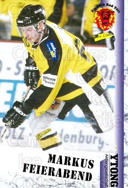 1999-00 German Bundesliga 2 #36 Markus Feierabend<br/>12 In Stock - $2.00 each - <a href=https://centericecollectibles.foxycart.com/cart?name=1999-00%20German%20Bundesliga%202%20%2336%20Markus%20Feierabe...&quantity_max=12&price=$2.00&code=160489 class=foxycart> Buy it now! </a>