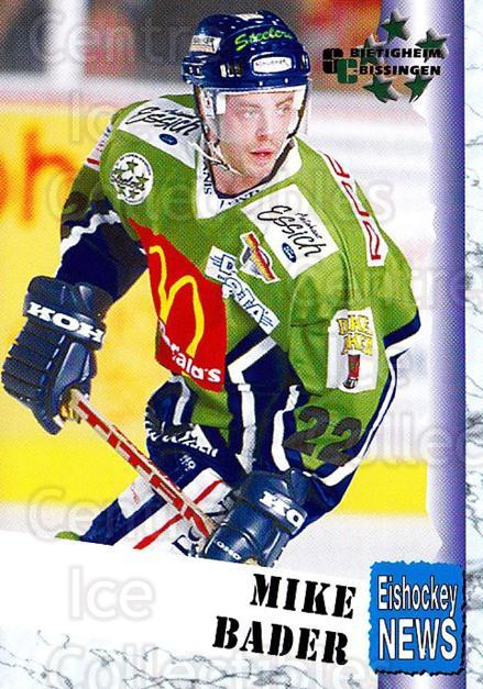 1999-00 German Bundesliga 2 #49 Mike Bader<br/>12 In Stock - $2.00 each - <a href=https://centericecollectibles.foxycart.com/cart?name=1999-00%20German%20Bundesliga%202%20%2349%20Mike%20Bader...&quantity_max=12&price=$2.00&code=160502 class=foxycart> Buy it now! </a>