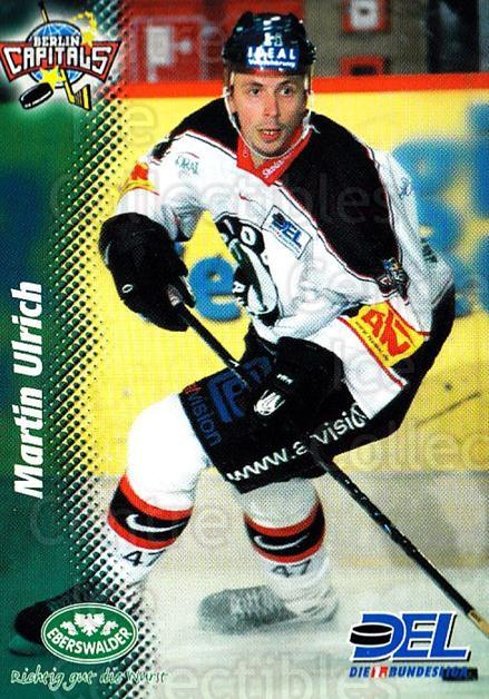 1999-00 German DEL #288 Martin Ulrich<br/>8 In Stock - $2.00 each - <a href=https://centericecollectibles.foxycart.com/cart?name=1999-00%20German%20DEL%20%23288%20Martin%20Ulrich...&quantity_max=8&price=$2.00&code=160600 class=foxycart> Buy it now! </a>