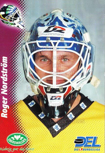 1999-00 German DEL Goalies #9 Roger Nordstrom<br/>1 In Stock - $3.00 each - <a href=https://centericecollectibles.foxycart.com/cart?name=1999-00%20German%20DEL%20Goalies%20%239%20Roger%20Nordstrom...&price=$3.00&code=160738 class=foxycart> Buy it now! </a>