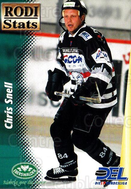 1999-00 German DEL Rodi Stats #4 Chris Snell<br/>22 In Stock - $3.00 each - <a href=https://centericecollectibles.foxycart.com/cart?name=1999-00%20German%20DEL%20Rodi%20Stats%20%234%20Chris%20Snell...&quantity_max=22&price=$3.00&code=160741 class=foxycart> Buy it now! </a>