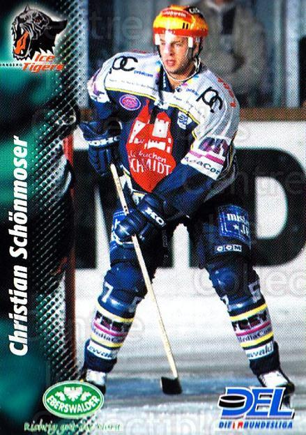 1999-00 German DEL #43 Christian Schonmoser<br/>8 In Stock - $2.00 each - <a href=https://centericecollectibles.foxycart.com/cart?name=1999-00%20German%20DEL%20%2343%20Christian%20Schon...&price=$2.00&code=160743 class=foxycart> Buy it now! </a>