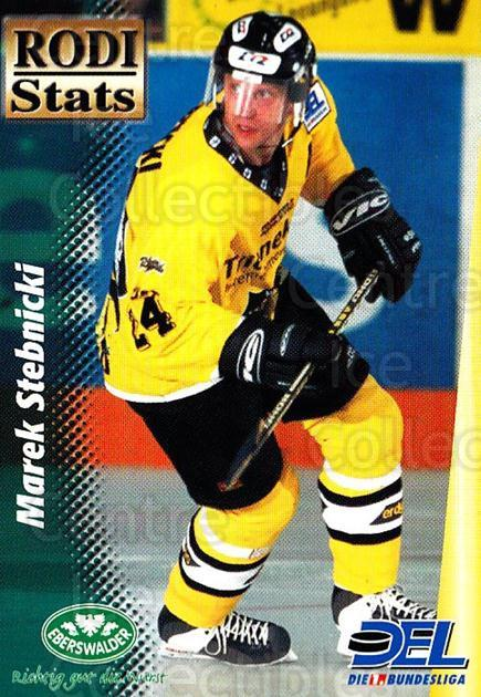1999-00 German DEL Rodi Stats #6 Marek Stebnicki<br/>20 In Stock - $3.00 each - <a href=https://centericecollectibles.foxycart.com/cart?name=1999-00%20German%20DEL%20Rodi%20Stats%20%236%20Marek%20Stebnicki...&quantity_max=20&price=$3.00&code=160744 class=foxycart> Buy it now! </a>
