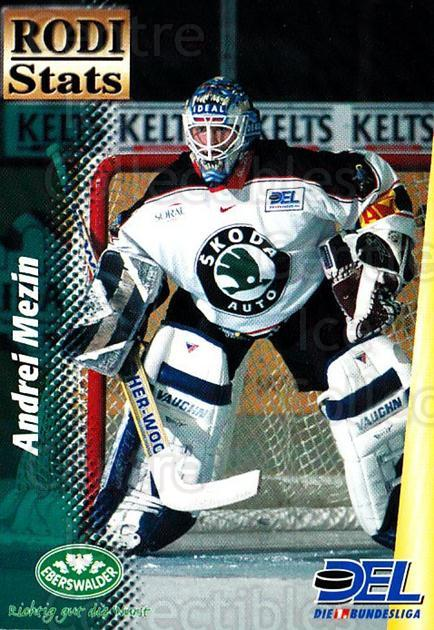 1999-00 German DEL Rodi Stats #8 Andrei Mezin<br/>20 In Stock - $3.00 each - <a href=https://centericecollectibles.foxycart.com/cart?name=1999-00%20German%20DEL%20Rodi%20Stats%20%238%20Andrei%20Mezin...&quantity_max=20&price=$3.00&code=160746 class=foxycart> Buy it now! </a>