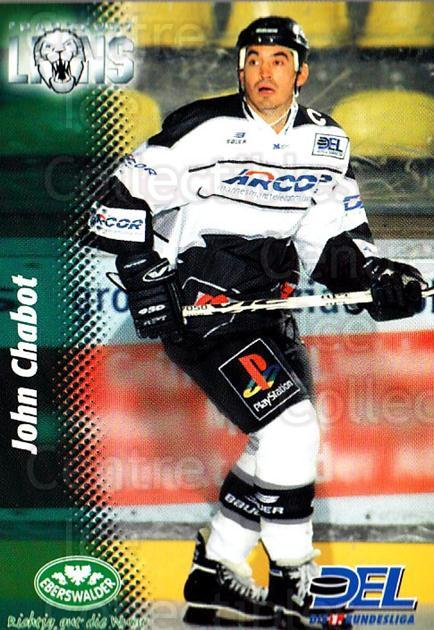 1999-00 German DEL #82 John Chabot<br/>4 In Stock - $2.00 each - <a href=https://centericecollectibles.foxycart.com/cart?name=1999-00%20German%20DEL%20%2382%20John%20Chabot...&quantity_max=4&price=$2.00&code=160788 class=foxycart> Buy it now! </a>